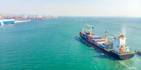 Foto de Aerial view of cargo ships in the sea are transported container to the port. Import export and shipping business logistic and transportation of International by ship, Panoramic banner with copy space - Imagen libre de derechos