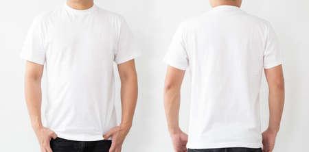 Photo pour White T-Shirt front and back, Mockup template for design print - image libre de droit