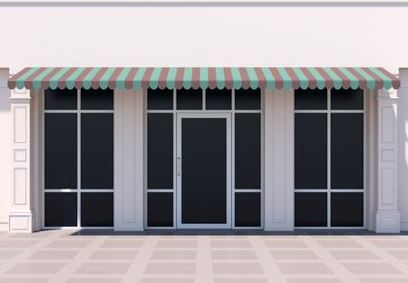 Foto de Classc shopfront in the sun - classic store front with awnings - Imagen libre de derechos