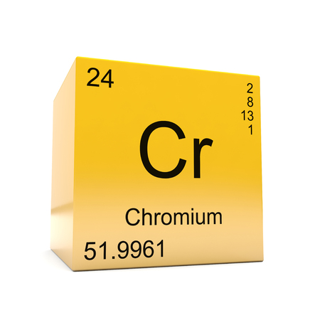 Photo pour Chromium chemical element symbol from the periodic table displayed on glossy yellow cube - image libre de droit