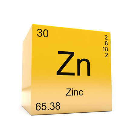 Photo for Zinc chemical element symbol from the periodic table displayed on glossy yellow cube - Royalty Free Image