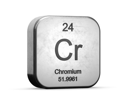 Photo pour Chromium, element from the periodic table. Metallic icon 3D rendered on white background - image libre de droit