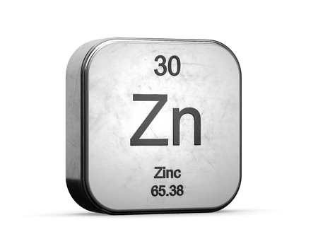 Photo pour Zinc element from the periodic table series. Metallic icon set 3D rendered on white background - image libre de droit