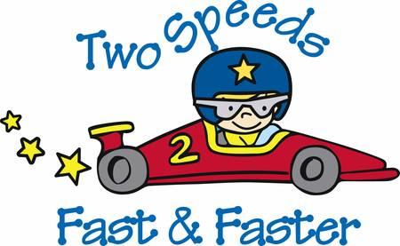 Ilustración de Helmeted boy driving a number 2 red race car with yellow stars trailing behind. - Imagen libre de derechos