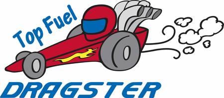 Ilustración de Red dragster with smoke trailing behind. - Imagen libre de derechos
