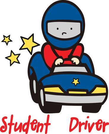 Ilustración de Helmeted boy driving a blue toy race car with yellow stars trailing behind. - Imagen libre de derechos