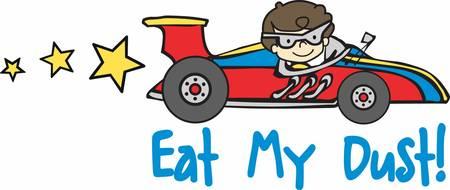 Ilustración de Brunette boy driving a Formula 1 race car with yellow stars trailing behind. - Imagen libre de derechos