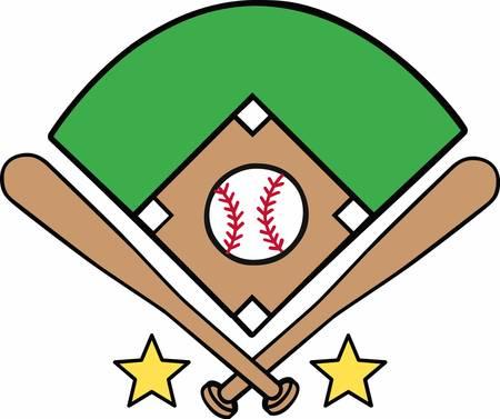 Illustration pour Crossed bats with a yellow stars surrounding a baseball diamond logo. - image libre de droit