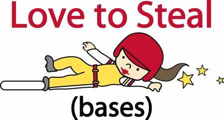 Ilustración de Softball player sliding into base with yellow stars trailing behind. - Imagen libre de derechos