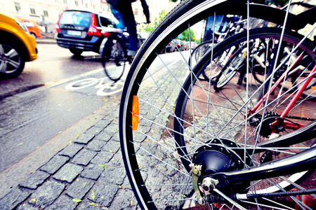 Photo for Close up of bicycle, bike and bike lane in background - Royalty Free Image