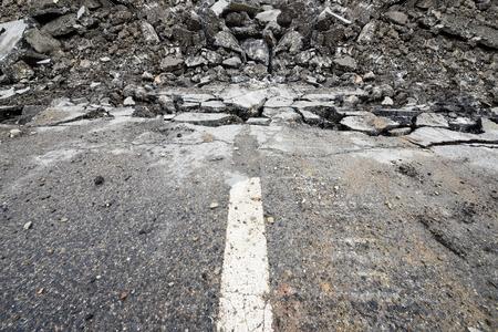 Photo pour End of the road. It's digged up. - image libre de droit