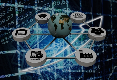 Photo pour 3d rendering of Supply Chain network with on background - image libre de droit