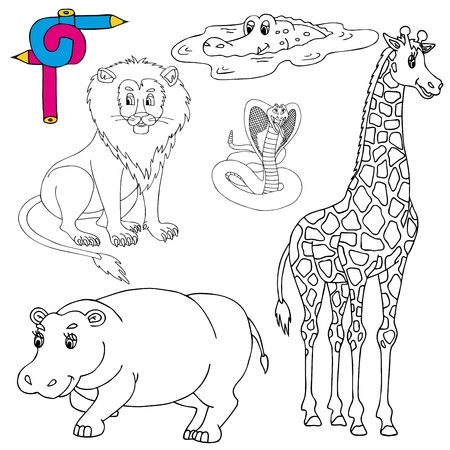 Illustration for Coloring image wild animals 01 - vector illustration. - Royalty Free Image