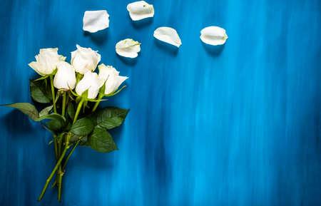 Photo pour Flowers composition. made of fresh Blue flowers. Flat lay, top view - image libre de droit