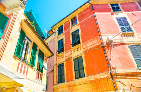 Photo for Colorful buildings in Monterosso in Cinque Terre, Italy on sunny day. - Royalty Free Image