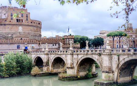 Photo for Castel Sant Angelo in Rome Italy, built in ancient Rome, it is now the famous tourist attraction of Italy. - Royalty Free Image