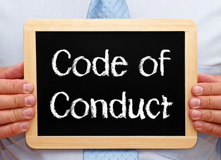 Photo for Code of Conduct on a blackboard - Royalty Free Image