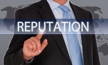 Photo pour Reputation - Businessman with touchscreen - image libre de droit