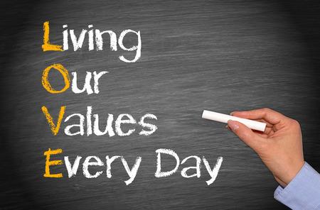 Photo pour LOVE - Living our values every day - image libre de droit