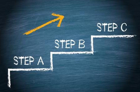 Foto de Step A - Step B - Step C - Business and Education - Imagen libre de derechos