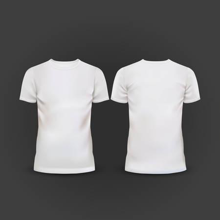 Illustration pour white T-shirt template isolated on black background - image libre de droit
