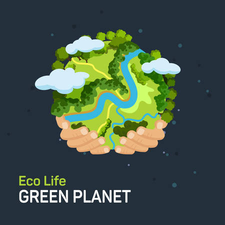Ilustración de Earth day concept. Human hands holding floating globe in space. Save our planet. Flat style vector isolated illustration. - Imagen libre de derechos