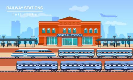 Railway station, vector flat background illustration eps 10