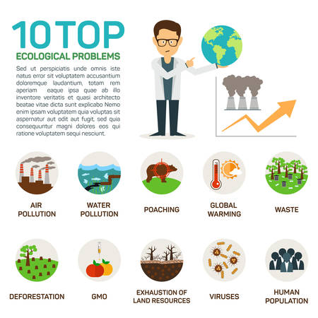 Illustrazione per illustration of top 10 ecological problems. Air and water polution, poaching, global warming, deforestation, gmo, viruses, exhaustion, human population. - Immagini Royalty Free