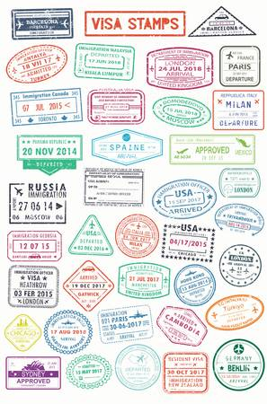 Illustration for Passport stamps or visa pages for traveling abroad - Royalty Free Image