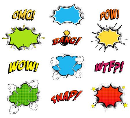 Ilustración de Comics bubbles for emotions and explosions. Exclamations clouds for wow and omg, wtf and snap, bomb bang or boom explosion. Great for cartoon book or danger, pop dialog and burst theme. - Imagen libre de derechos
