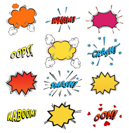 Illustration pour Onomatopoeia comics sounds in clouds for emotions and kaboom explosion. Steaming oops and wham sound, heart for ooh and stars for smash and crash cartoon book theme. - image libre de droit