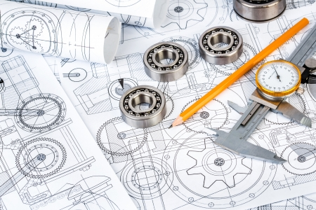 Foto de Technical drawings with the Ball bearings - Imagen libre de derechos