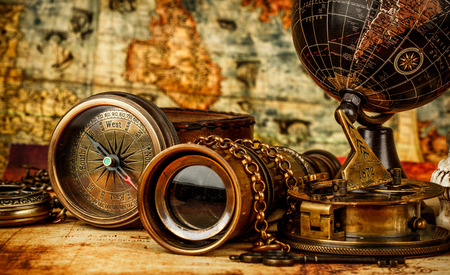 Photo pour Vintage grunge still life. Vintage items on ancient map. - image libre de droit