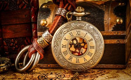 Foto de Vintage Antique pocket watch. Vintage grunge still life. - Imagen libre de derechos