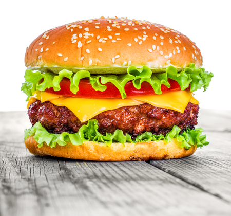 Photo pour Tasty and appetizing hamburger cheeseburger - image libre de droit