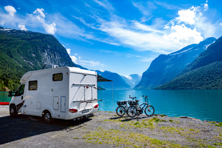 Foto de Family vacation travel, holiday trip in motorhome, Caravan car Vacation. Beautiful Nature Norway natural landscape. - Imagen libre de derechos