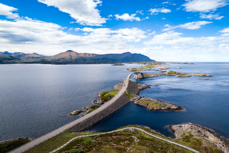 Photo pour Atlantic Ocean Road or the Atlantic Road (Atlanterhavsveien) been awarded the title as Norwegian Construction of the Century. The road classified as a National Tourist Route. Aerial photography - image libre de droit