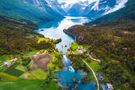 Photo pour Beautiful Nature Norway natural landscape aerial photography. lovatnet lake. - image libre de droit