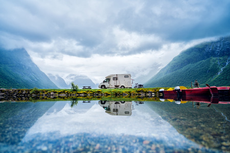 Foto per Family vacation travel RV, holiday trip in motorhome, Caravan car Vacation. Beautiful Nature Norway natural landscape. - Immagine Royalty Free