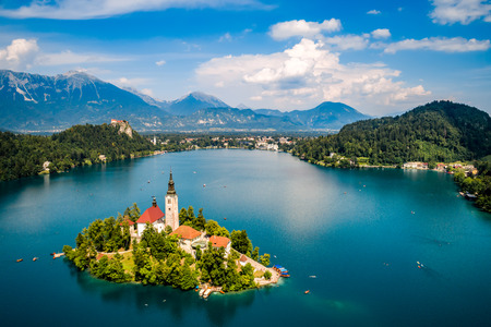 Photo for Slovenia - Aerial view resort Lake Bled. - Royalty Free Image