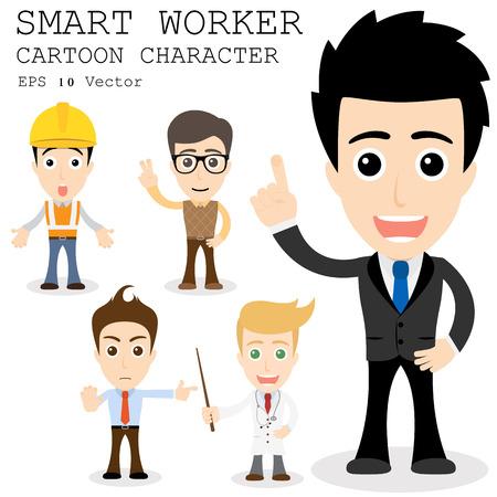 Illustration pour Smart worker cartoon character   - image libre de droit
