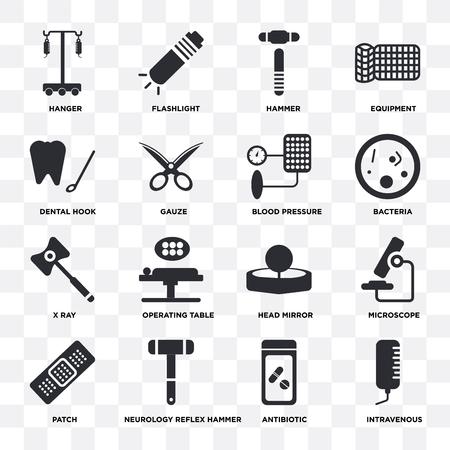Ilustración de Set Of 16 icons such as Intravenous, Antibiotic, Neurology reflex hammer, Patch, Microscope, Hanger, Dental hook, X ray, Blood pressure on transparent background, pixel perfect - Imagen libre de derechos