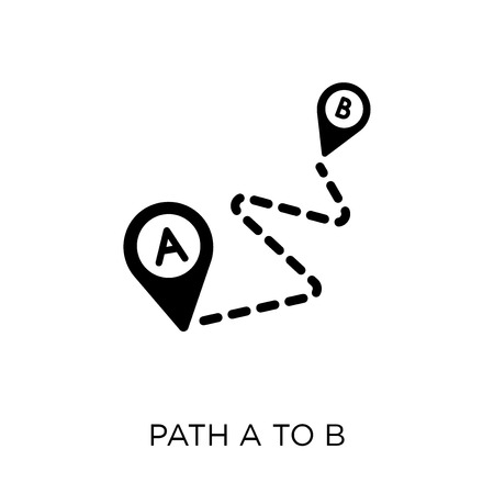 Illustration pour Path A to B icon. Path A to B symbol design from Maps and locations collection. Simple element vector illustration on white background. - image libre de droit
