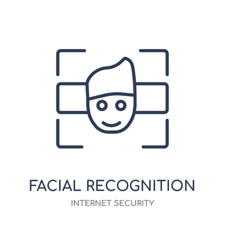 Ilustración de Facial recognition icon. Facial recognition linear symbol design from Internet security collection. Simple outline element vector illustration on white background. - Imagen libre de derechos