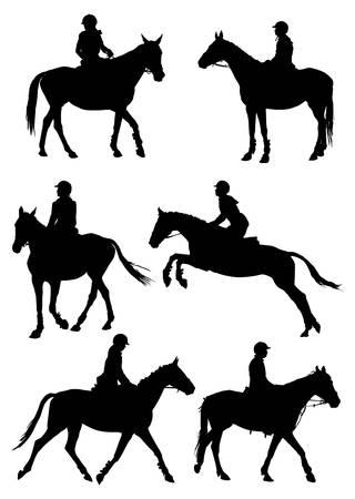 Illustration pour Six silhouettes of jockey riding race horse.  illustration. - image libre de droit