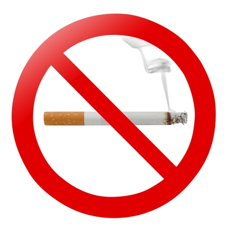 Photo for Traditional no smoking sign isolated on white - Royalty Free Image