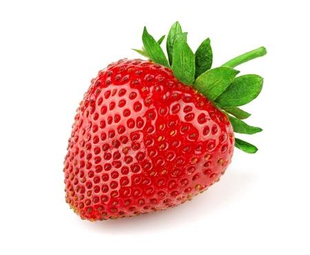 Foto de Fresh sweet strawberry isolated on white - Imagen libre de derechos