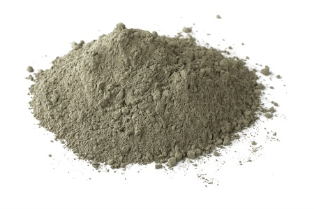 Photo for Pile of dry grey portland cement isolated on white - Royalty Free Image