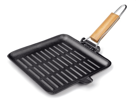 Cast iron square grill pan isolated on white