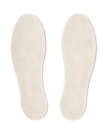 Cotton shoe insoles isolated on white
